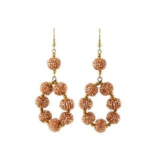 Gorgeous Beaded Ball Hoop Earrings